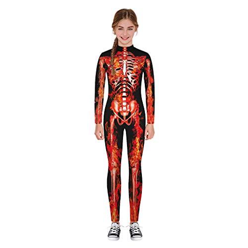 DOLLAYOU Kostüm Unisex Set Teenager Halloween Body Skelett Cosplay Catsuit Gruselig Prom Party Leggings 3D Printed Horror 7-14 (Skelett Zombie Teen Kostüm)