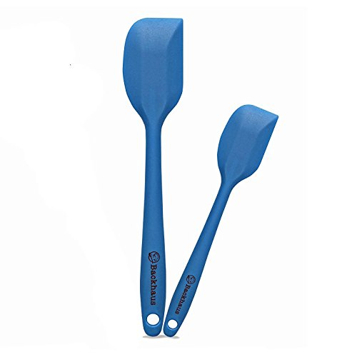Backhaus ® Set Spatole in SiliconeBACKHAUS ® Set Spatole in Silicone Platino Antiaderente con Nucleo in Acciaio, 2 Utensili da Cucina di qualità Professionale Resistente al Calore, Blu