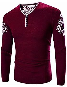 HDYS Sello de Hombres sudadera sudadera de tejer suéter de otoño e invierno, untar ,vino tinto,xl