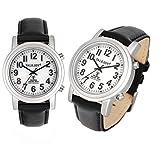 Leder SOLAR Sprechende Funkarmbanduhr Silber Funkuhr Uhr Seniorenuhr Armbanduhr