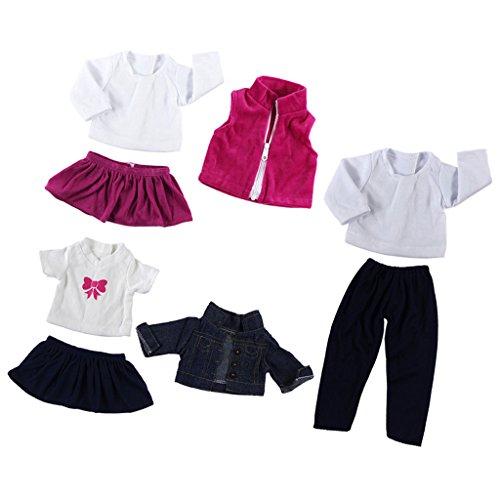MagiDeal Vêtement de Poupée T-shirt Robe Vest Pantalons en Tissu Décoration pour 18'' American Girl Dolls