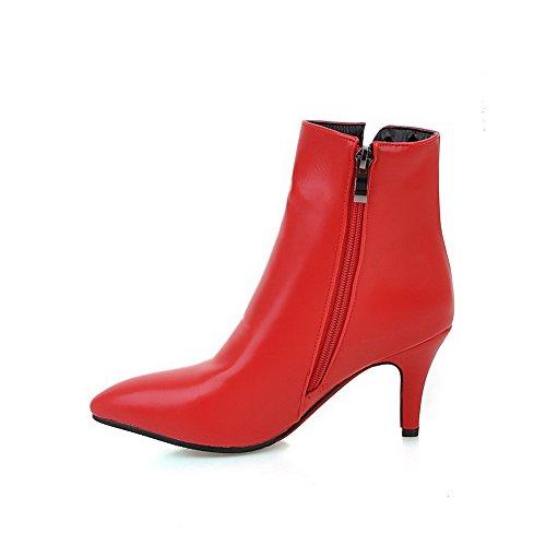 VogueZone009 Donna Bassa Altezza Chiodato Cerniera Scarpe A Punta Tacco Alto Stivali Rosso