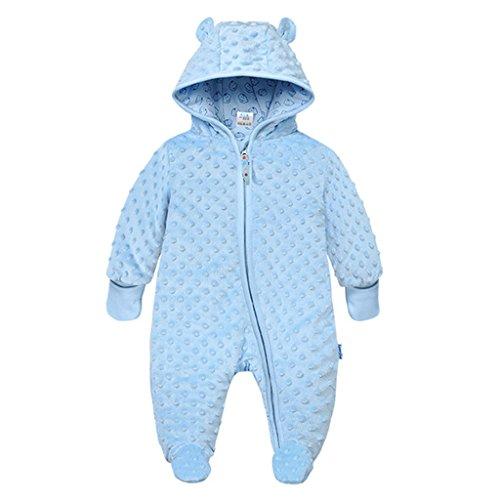 Baby Winter Fleece Overall mit Kapuze Schneeanzüge Footed Strampler Spielanzug Jumpsuit, Blau 0-3 Monate