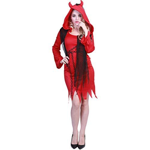 EraSpooky Erwachsene Roter Teufel Kostüm Robe Faschingskostüme Cosplay Halloween Party Karneval Fastnacht Kleid für Herren Damen (Sie Teufel Kostüm)