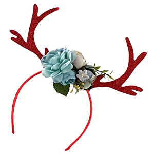 MagiDeal Blumen Rentiergeweih auf Haarreif Stirnband Haarband, in verschidenen Farben