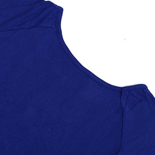 LAEMILIA Femme Chemises Été Irregular Manche Courte Col Rond Tee-shirt Haut Blouses Tops Bleu