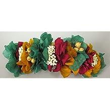 Peineta de hortensia verde, roja y amarillaew