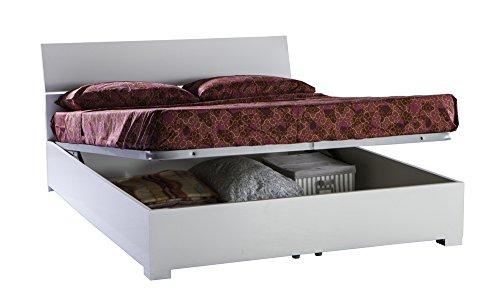 Letto matrimoniale contenitore bianco laccato con rete 140x200cm camera letto