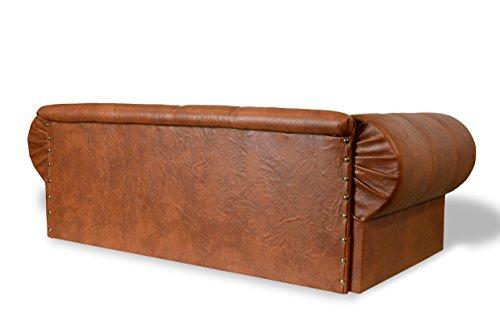 Hundesofa Hundebett Edy-Ohio Lux XL Büffelleder Imitat Antik Brandy Couch - 4