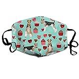 Wire Fox Terrier Valentinstag Cupcakes Love Hearts Hund Rasse Mint Anti-Staub Maske Anti-Verschmutzung waschbar Wiederverwendbar Mundmasken