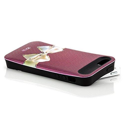 Saxonia Apple iPhone 5 5S SE Hülle Case Schutzhülle   Motiv: Kroko violett Schleife rot