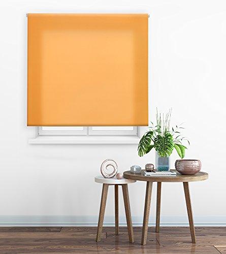 HappyStor Clear Estor Enrollable A Medida Tejido Liso Traslúcido 107-Naranja Medida Total Estor: 85x175 (**Solo Ancho Tela:81-82cm.**)