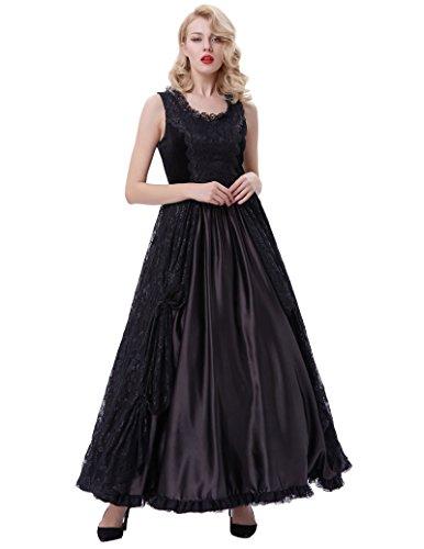 Belle Poque Viktorianisches Kleid Gothic Steampunk Ärmellos Maxi Tänzer Kostüm Schwarz Größe M (Tänzer Kostüme Für Frauen)