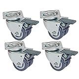 XZANTE 4 pezzi Ruoli sedia a sdraio Ruote doppie adatte per prato con freno, portata 400 kg