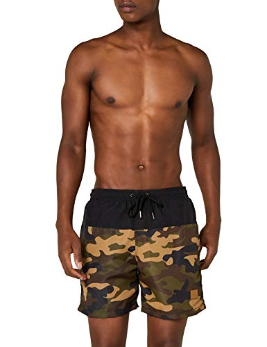 Urban Classics Herren Badehose Block Swim Shorts, blk/woodcamo, XL
