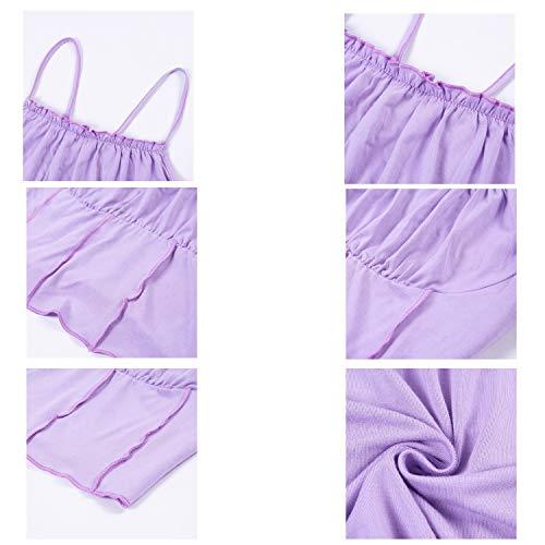 HGbeauty Leibchen Yoga Kleidung Ultrakurze ärmellose Weste Frauen Sport-BH Slim Fit Sexy U-Ausschnitt (Color : Purple, Size : M) - 5