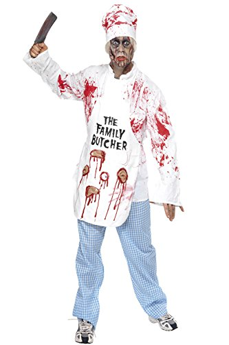 Herren HALLOWEEN FANCY DRESS Gents Scary Party Outfit Deadly Chef Kostüm Gr. M, multi