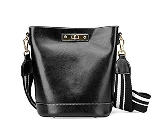 Bag Oil Handschlaufe Wild Damentasche Hisroom Bag Lady Wax Umhängetasche Damen Leather Slung Temperament black Fashion Bucket 25 New Shoulder Trend mn0wvNOy8