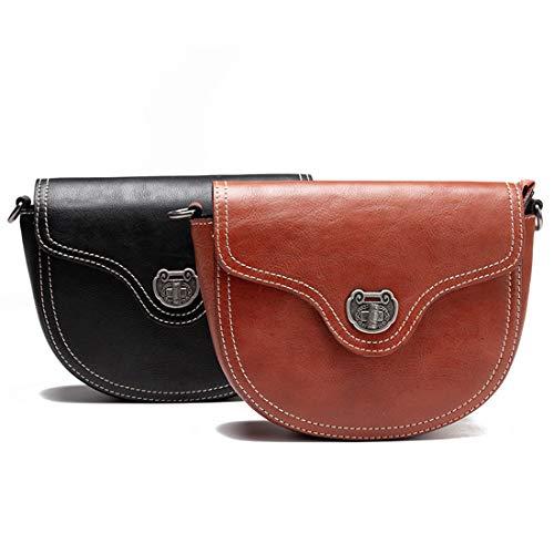 Weibliche Tasche Leder Shell Baotou Schicht Leder Tasche Flip Cover Messenger Bag,Brown-OneSize