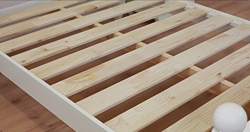 WHITE WOOD BED FRAME - CHUNKY - STURDY BEDSTEAD DOUBLE OR KING 4FT6 OR 5FT (5FT KING SIZE)