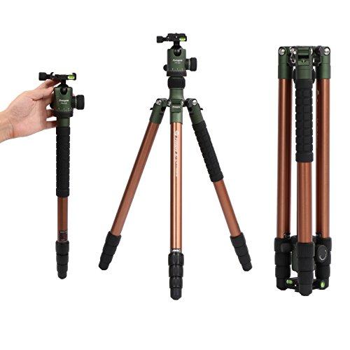 Fotopro X-go Predator Professional Kamera Aluminium-Stativ, kompaktes und tragbares Dreibeinstativ für Kamera und DSLR Nikon, Sony, Canon, Pentax, mit Tragetasche, 64 Zoll, Grün (Stativ Canon Professional)