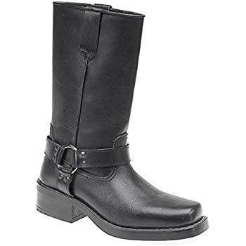 Mens 11 inch Leather Pull On Western Harness Cowboy Biker Boots Black Size  10 (EU44)