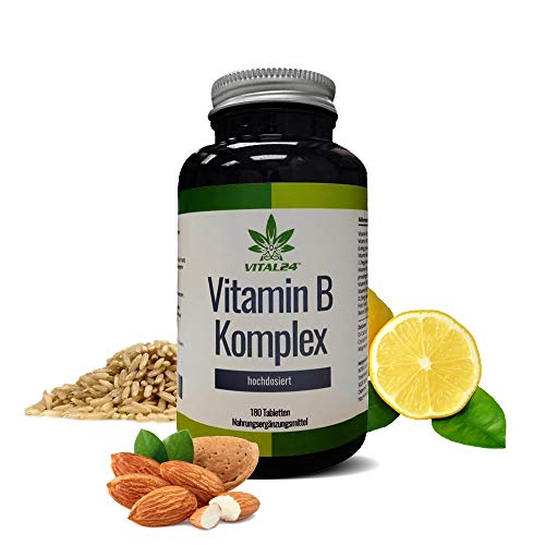 VITAL24 - Vitamin B Komplex hochdosiert - 8 wichtige B-Vitamine in einer einzigen Tablette -