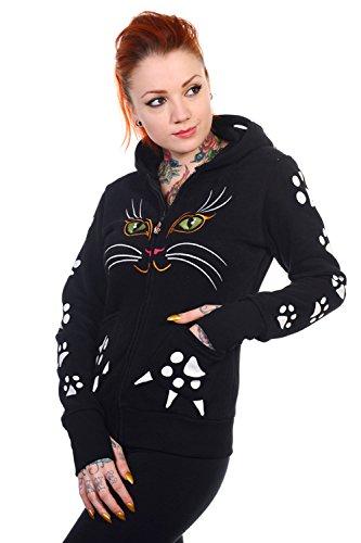 Banned Cat Skinny Fit Hoodie (Black) (Hoodie, Reißverschluss über Gesicht)