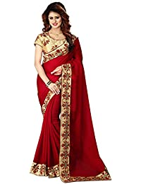 Greenvilla Designs Red Chiffon Partywear Saree With Blouse