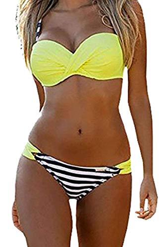 Style Store Damen Bikini-Set Gr. Medium, Striped Yellow