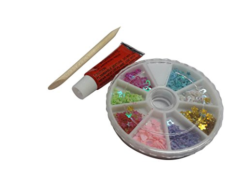 FOK 3D Nail Art Wheel With Glitter and Heart and Star Shape Sequins DIY Nail Decoration Kit-Random Design