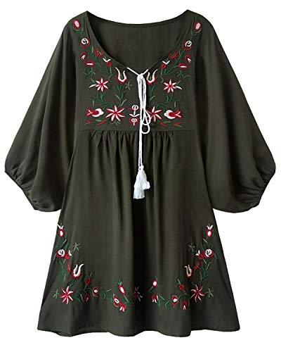 Doballa Damen Boho Tunika Hippie Kleid Gestickt Blumen Mexikanische Bluse (M, Olive) -