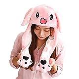 Woneart Lustige Plüsch Tier Ohr Hut Spielzeug Hasenmütze Stirnband Tiermütze Einhorn-Hüte Bunny Ohren mit Beweglichen Ohren Cosplay Kostüm für Dame Mädchen Erwachsene Kinder (60CM, Pink Bunny Ears)
