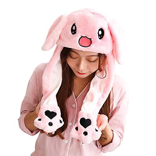 Woneart Lustige Plüsch Tier Ohr Hut Spielzeug Hasenmütze Stirnband Tiermütze Einhorn-Hüte Bunny Ohren mit Beweglichen Ohren Cosplay Kostüm für Dame Mädchen Erwachsene Kinder (60CM, Pink Bunny (Pink Bunny Kostüm Kinder)
