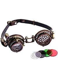 Lunettes goggles steampunk marron lentille viseur avec lumière LED sans correction