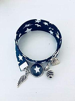 Bracelet Liberty bleu, bijou Liberty, bracelet en tissu liberty, idée cadeau, bracelet parfum, bijou, bracelet étoile, bijoux cadeaux