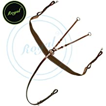 Royal Elastic Breast Plate with Girth Strap./ Vegetable Tanned Leather./ Stainless Steel Buckles./ Brown Elastic with Grey & Maroon Lines.