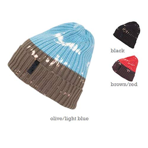 Ignite Splash Ribbed Warm Beanie Made of 100% Cotton Hat Tie Dye Cotton in Blue - OS