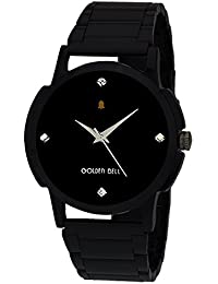Golden Bell Original Black Dial Black Steel Chain Analog Wrist Watch For Men - GB-986