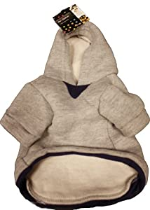 Cute Dog Clothes Grey Hoodie Navy Blue Lining 20cm from Sifcon