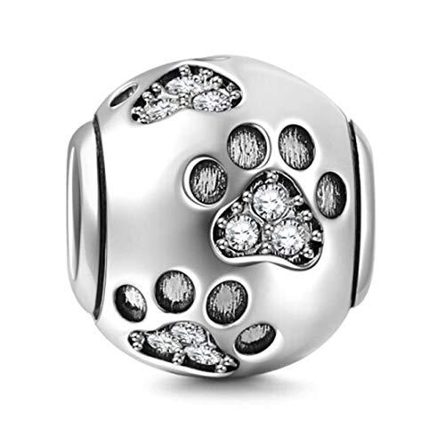XY Gioielli Charm Cani - Argento Sterling 925 - Zampa Impronta di Cane Orme - Adatto per Bracciali Europei