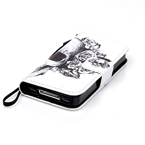 CareyNoce iPhone 4/4S Coque,Fille Licorne Fleur Chien Retro Painted Embossed Pattern Conception Flip Housse Etui Cuir PU Coque pour Apple iPhone 4/4S (3.5 pouces) -- Pétales crâne M04