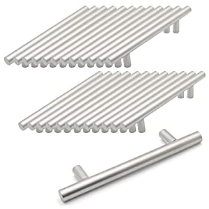 Probrico Brushed Nickel Stainless Steel Kitchen Cabinet T Bar Handle Furniture Drawer Pulls Cuoboard Knobs PD201HSS96(96mm Hole centers/150mm Long) 25 Pack