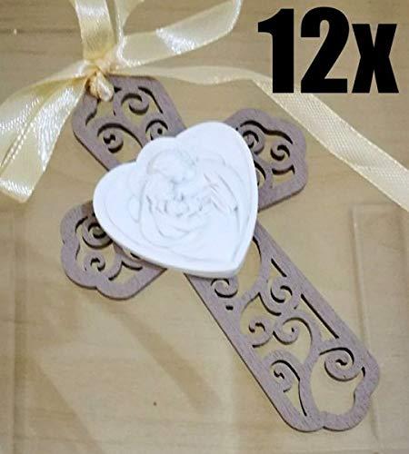 12 pezzi croce in legno sacra famiglia bomboniera comunione battesimo