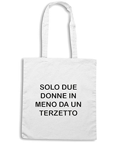 T-Shirtshock - Borsa Shopping TDM00256 solo due donne in meno da un terzetto Bianco