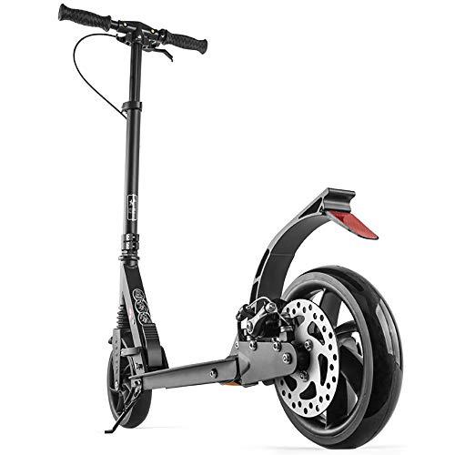 Aocean Erwachsene Roller,Großen Rädern mit Scheibenbremsen, Faltbare Tretroller für Frauen Männer,mit Doppelfederung ab 12 Jahre bis 100kg,Nicht elektrisch, Black