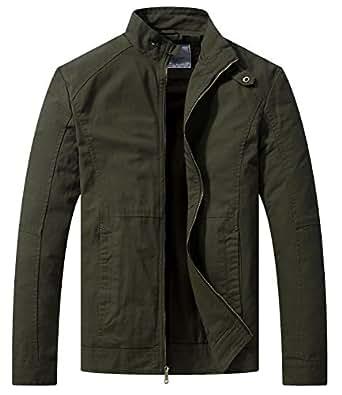 wenven herren bergangsjacke casual leichte full zip military jacke bekleidung. Black Bedroom Furniture Sets. Home Design Ideas
