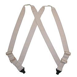 CTM Women s Elastic Undergarment Side Clip Maternity Suspenders, Beige
