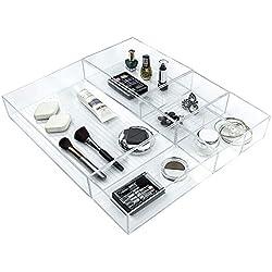 Ulinek Boîte de Rangement en Plastique Transparent【 Lot de 5 Tiroir Empilable】 pour Cuisine Bureau Maison, Organisateur de Maquillage Commode