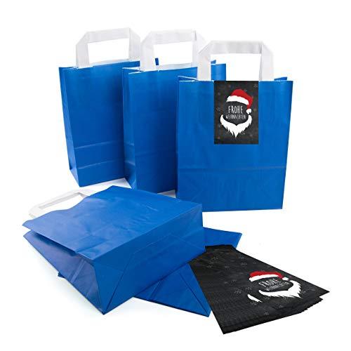 25 kleine ROYAL-blaue Papier-Tüte Geschenk-Tasche mit Henkel Boden 18 x 8 x 22 cm + 25 Aufkleber Santa Hipster-Nikolaus Frohe Weihnachten schwarz rot weiß Geschenkverpackung Kraftpapier Be-Füllen
